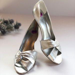 Nine West NWT Silver Peep Toe Pumps Heels Elegant